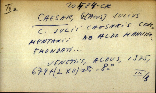 C. Julii Caesaris commentarii ab Aldo Manutio ... Emendati...