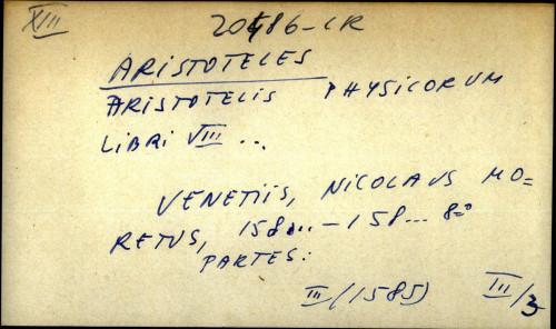 Aristotelis physicorum libri VIII ...