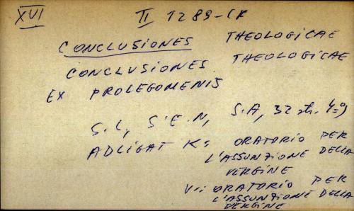 Conclusiones theologicae ex prolegomenis