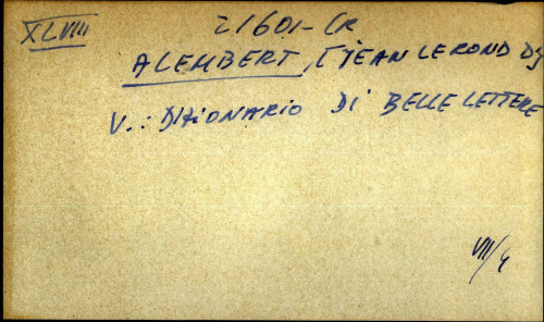 Alembert, Jean Lerond d' - uputnica