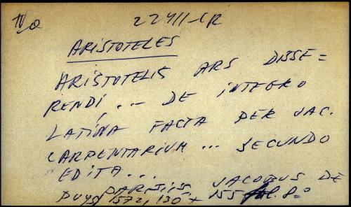 Aristotelis Ars disserendi ... de integro latina facra per jac. carpentarium ...