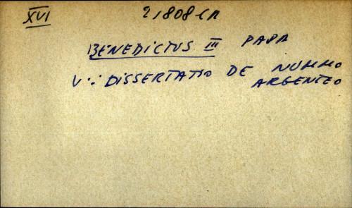 Benedictus III papa - uputnica