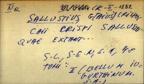 Caii Crispi Sallustii quae extant...