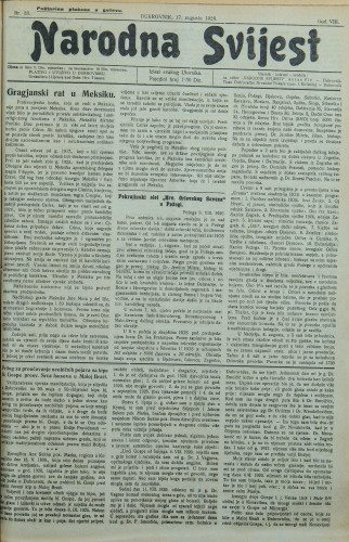Narodna svijest, 1926/33