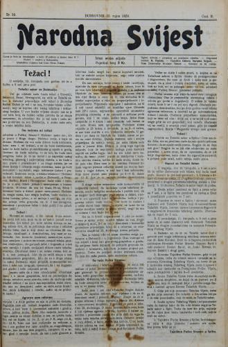 Narodna svijest, 1920/39