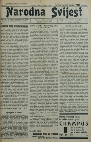Narodna svijest, 1931/32