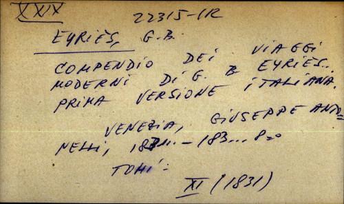 Compendio dei viaggi moderni di G.B. Eyries