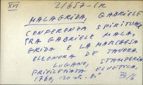 Conferenza spirituale tra Gabriele Malagrida e la marchesa Eleonora de Tavora