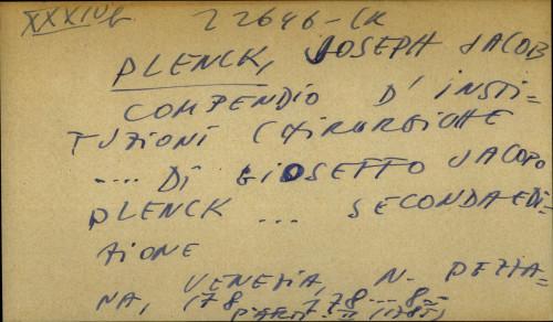 Compendio d' instituzioni chirurgiche… di Gioseffo Jacopo Plenck…