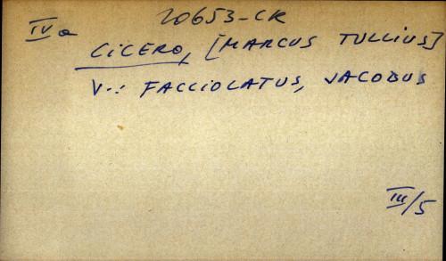 Cicero, [Marcus Tullius] - uputnica