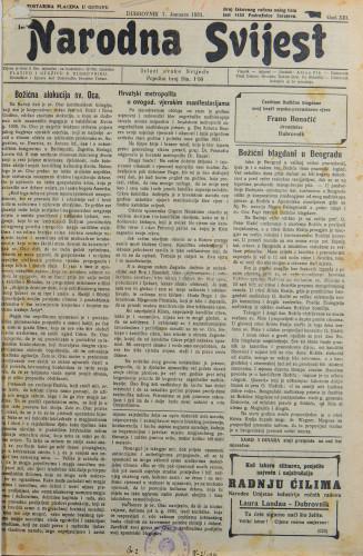 Narodna svijest, 1931/1