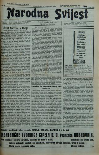 Narodna svijest, 1930/38