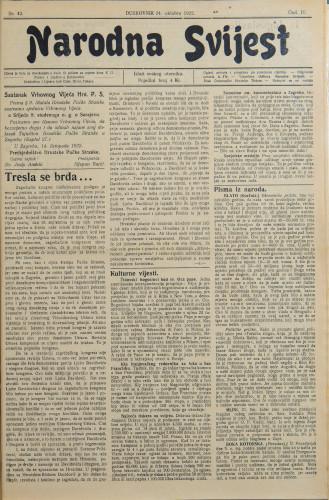Narodna svijest, 1922/42