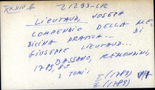 Compendio della medicina pratica ... Giuseppe Lieutaud