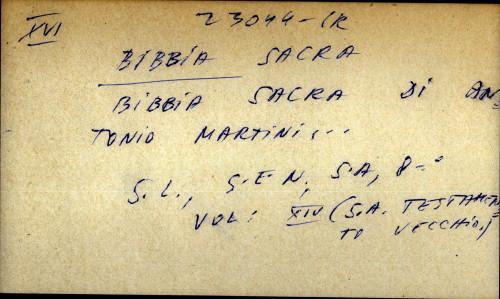 Bibbia sacra di Antonio Martini
