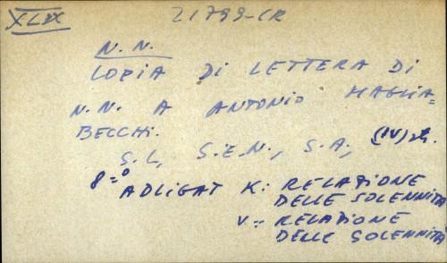 Copia di lettera di N. N. Antonio Magliabecchi