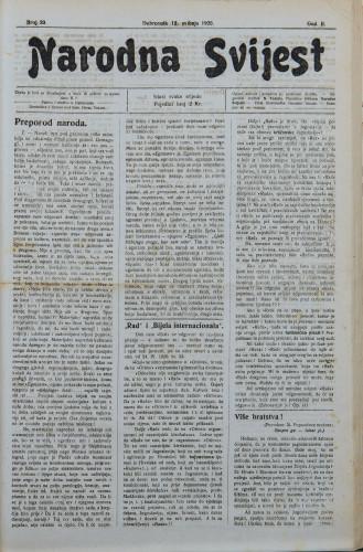 Narodna svijest, 1920/20