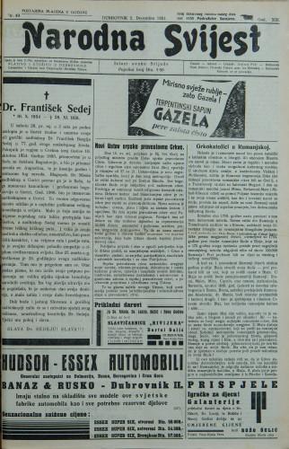 Narodna svijest, 1931/49