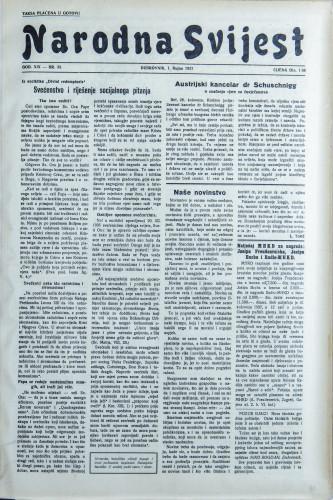 Narodna svijest, 1937/38