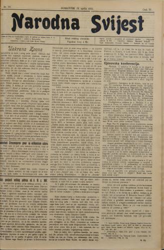 Narodna svijest, 1922/16