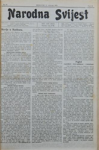 Narodna svijest, 1920/33